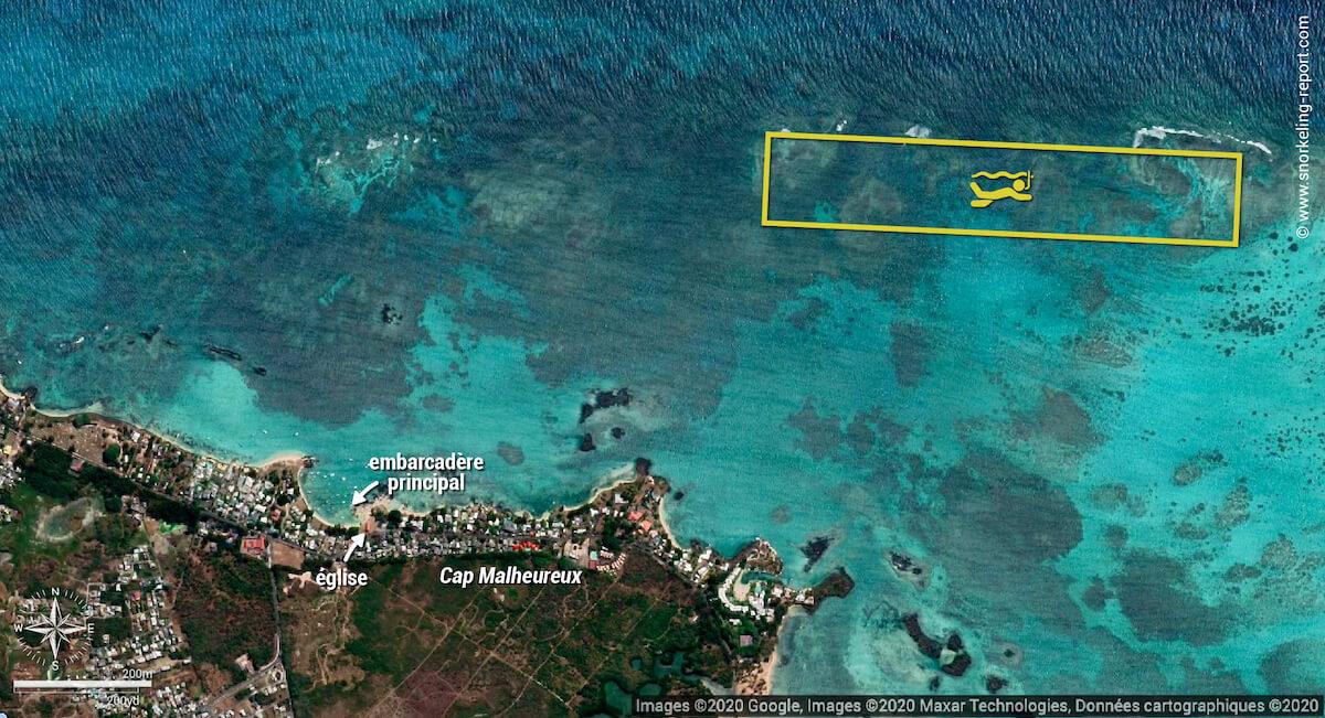 Carte snorkeling sur le récif de Cap Malheureux
