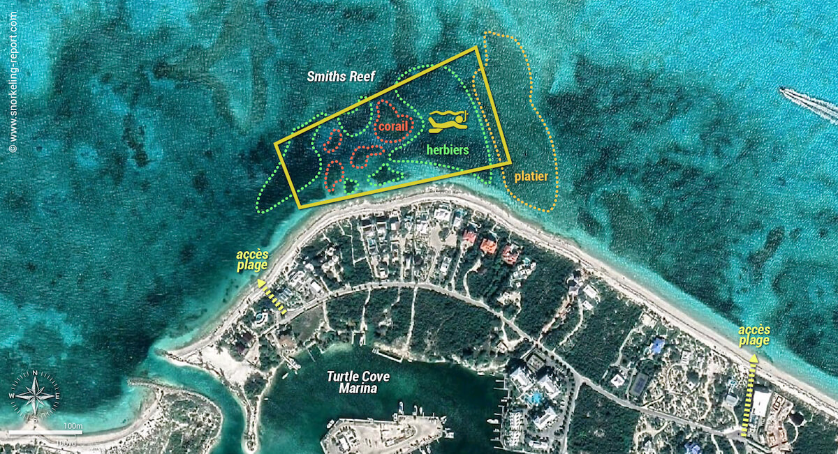 Carte snorkeling à Smith's Reef, Turtle Cove, Providenciales