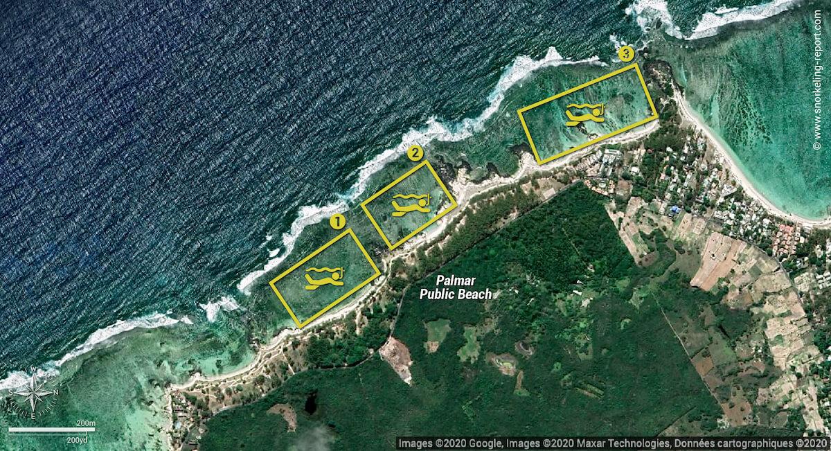 Palmar Beach snorkeling map, Mauritius