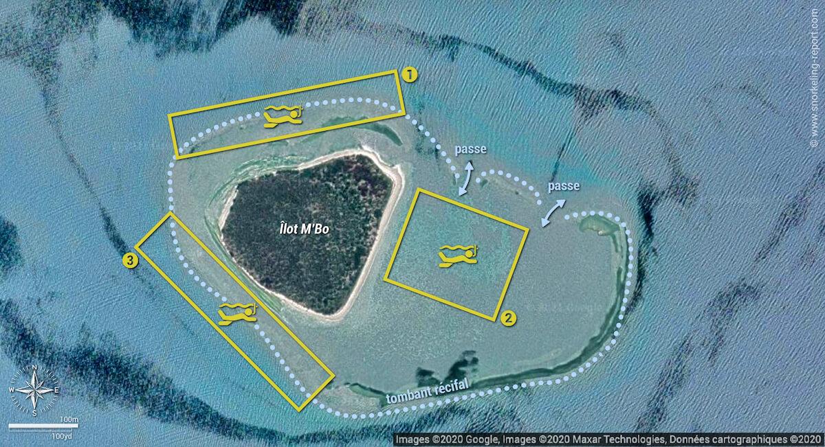 Carte snorkeling à l'Îlot M'Bo, Nouvelle-Calédonie