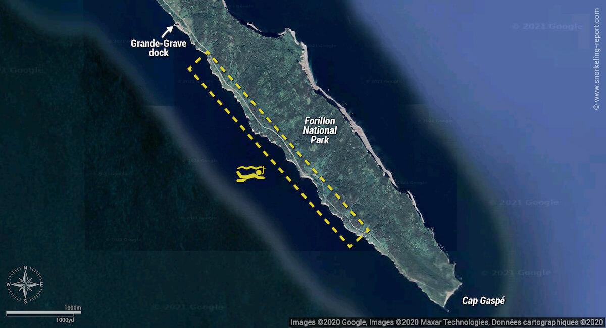 Forillon National Park snorkeling map