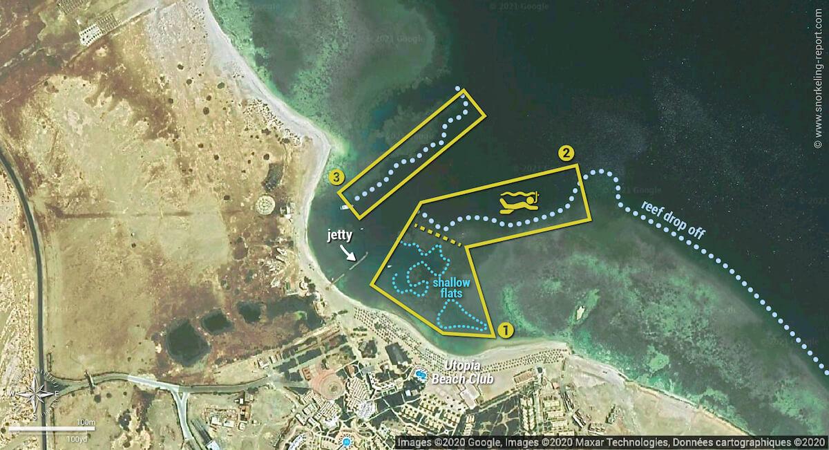 Utopia Beach Club snorkeling map