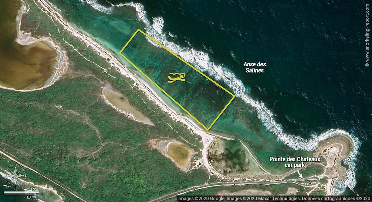 Anse des Salines snorkeling map, Guadeloupe
