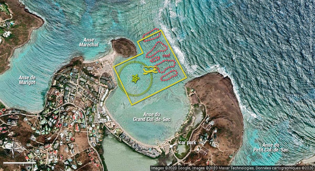 Anse du Grand Cul-de-Sac snorkeling map
