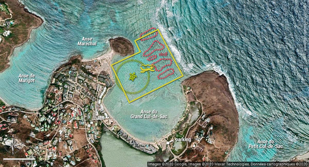Carte snorkeling à l'Anse du Grand Cul-de-Sac