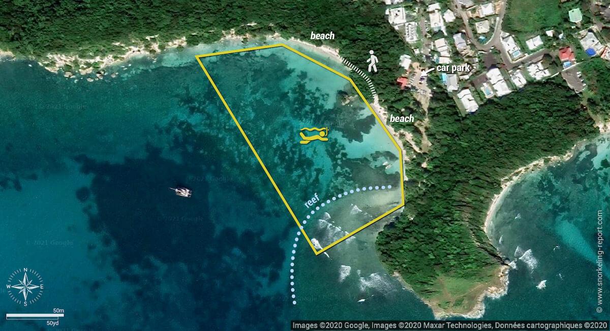 Petit-Havre Beach snorkeling map, Guadeloupe