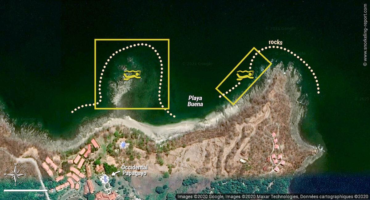 Playa Buena snorkeling map, Costa Rica