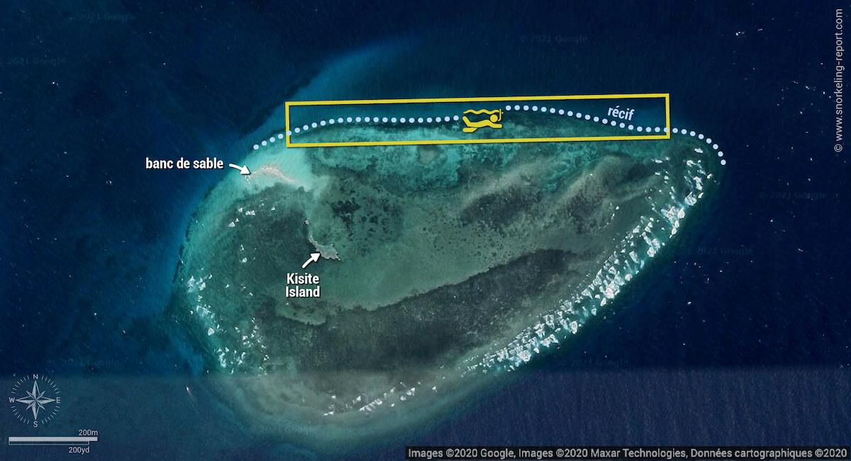 Carte snorkeling dans le Parc Marin de Kisite-Mpunguti