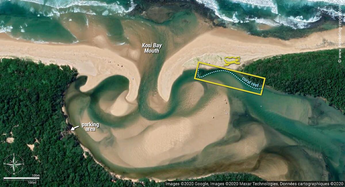 Kosi Bay Mouth Aquarium Reef snorkeling map