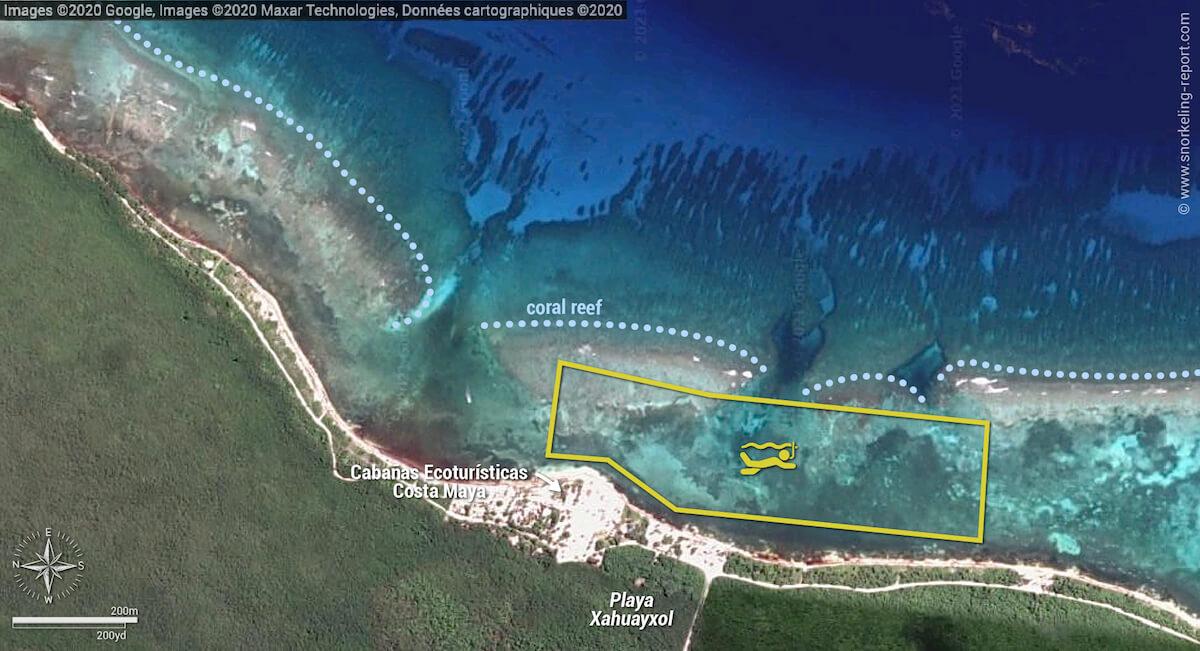 Playa Xahuayxol snorkeling map