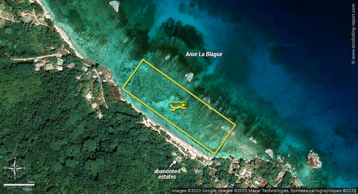 Anse La Blague snorkeling map, Praslin
