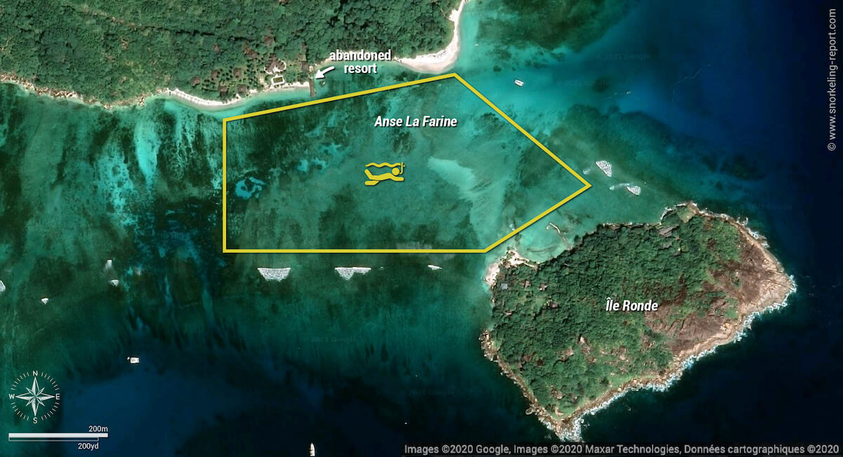 Anse La Farine snorkeling map, Praslin