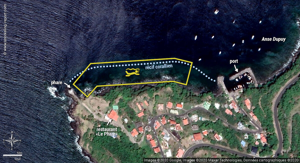Carte snorkeling au Phare de Vieux-Fort, Guadeloupe