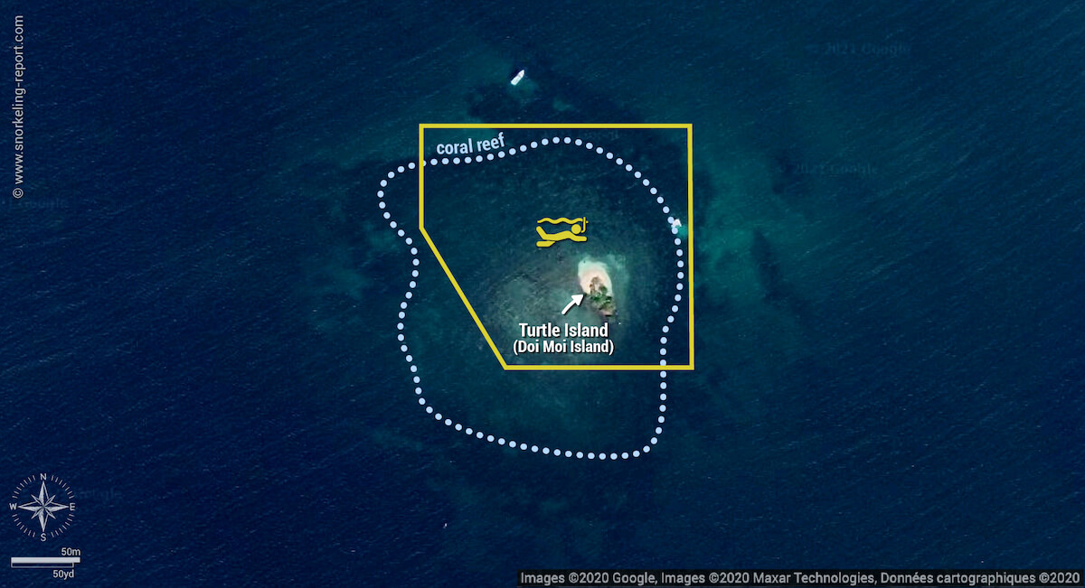 Doi Moi - Turtle Island snorkeling map, Phu Quoc