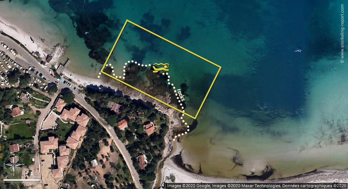 Pinarello Beach snorkeling map, Corsica