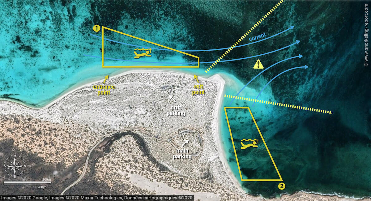 Turquoise Bay snorkeling map, Western Australia