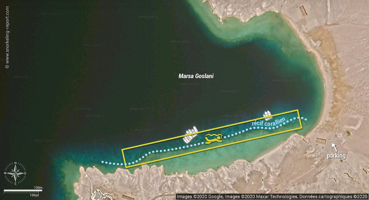 Carte snorkeling à Marsa Goslani