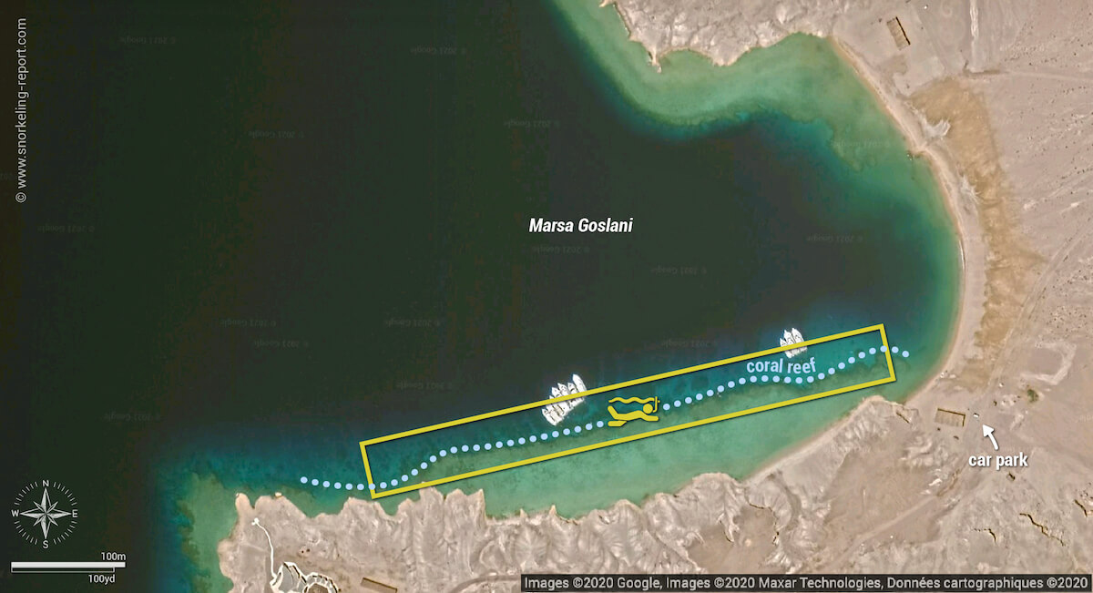 Marsa Goslani snorkeling map