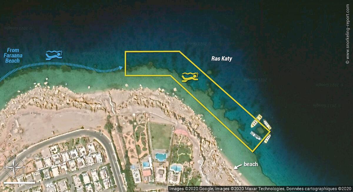 Ras Katy snorkeling map, Sharm el-Sheikh